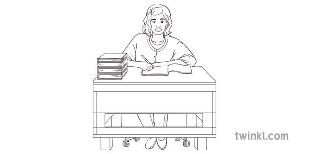 Female-Teacher-at-Desk-Black-and-White